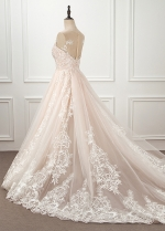 Fascinating Tulle Jewel Neckline See-through Natural Waistline A-line Wedding Dress With Lace Appliques & Beadings