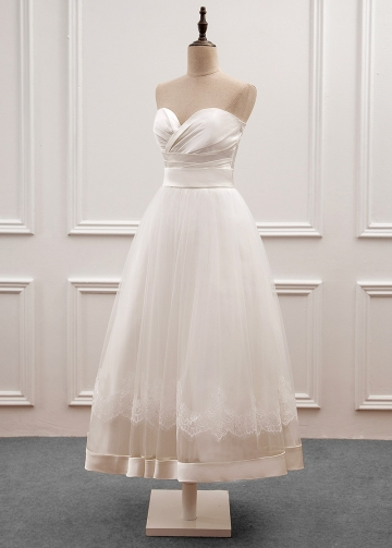 Romantic Satin & Tulle Sweetheart Neckline Tea-length A-line Wedding Dress With Lace Appliques