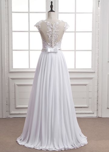 Modest Tulle & Chiffon Jewel Neckline A-line Wedding Dress With Lace Appliques & Belt & Beadings