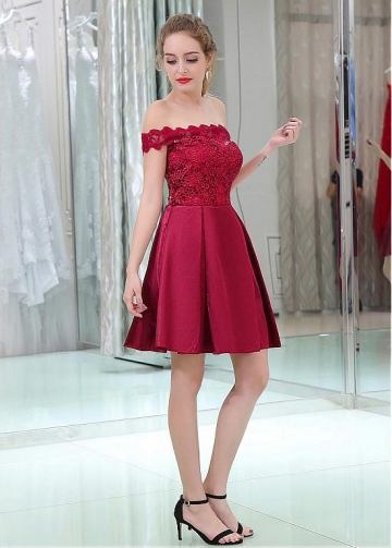 Lace & Satin Off-the-shoulder Neckline Short Length A-line Cocktail Dresses