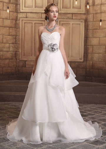 Chic Organza Satin Sweetheart Neckline Ruffled A-line Wedding Dresses