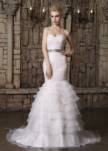 Alluring Organza Sweetheart Neckline Ruffled Mermaid Wedding Dresses