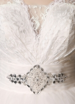 Gorgeous Lace & Tulle V-neck Neckline Ball Gown Wedding Dresses