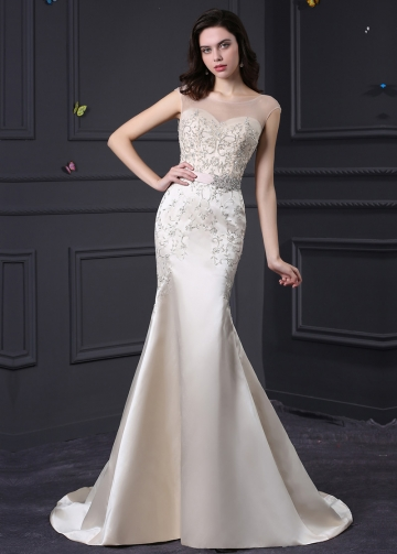 Elegant Tulle & Satin Bateau Neckline Mermaid Wedding Dress