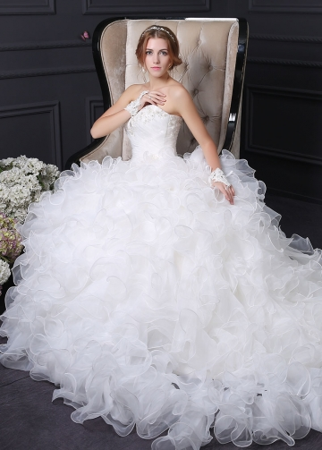 Elegant Organza A-line Wedding Dress With Beaded Lace Appliques