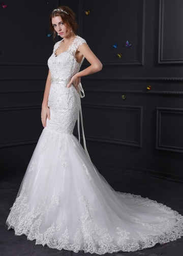 Elegant Tulle Mermaid Wedding Dress With Beaded Lace Appliques