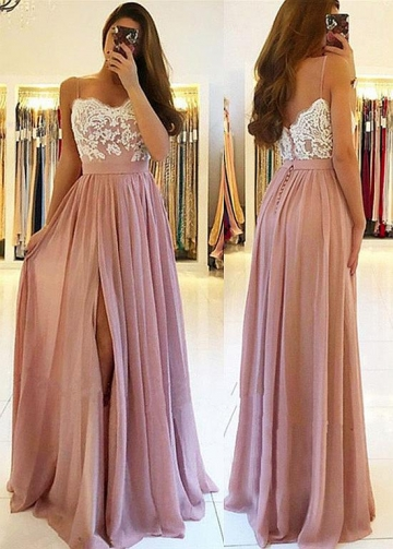 Alluring Chiffon Spaghetti Straps Neckline Floor-length A-line Prom Dress With Slit