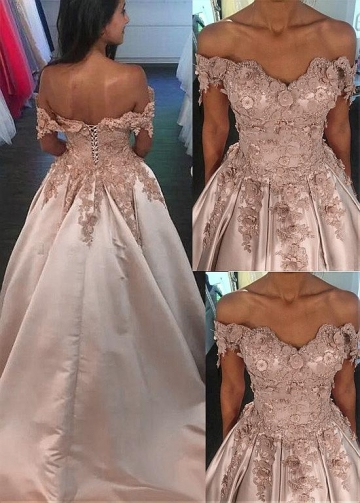 Fantastic Satin Off-the-shoulder Neckline A-line Prom Dress With Lace Appliques