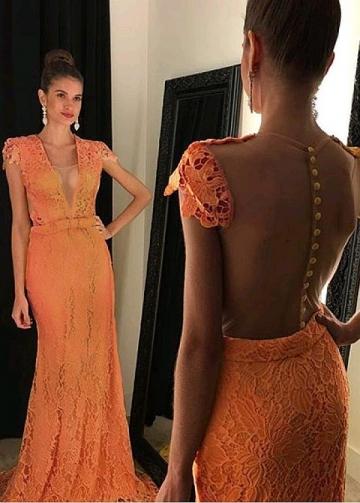 Charming Tulle & Lace V-neck Neckline Floor-length Mermaid Evening Dress With Belt