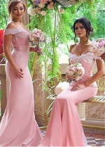 Graceful Off-the-shoulder Neckline Mermaid Bridesmaid Dresses With Lace Appliques