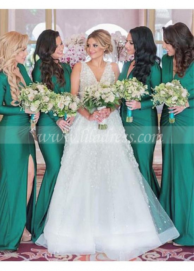 Charming Spandex V-neck Neckline Full-length Mermaid Bridesmaid Dress With Slit