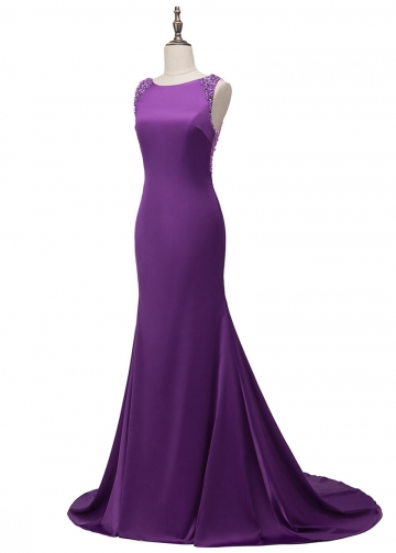 Stunning Acetate Satin Jewel Neckline Mermaid Formal Dress With Beading