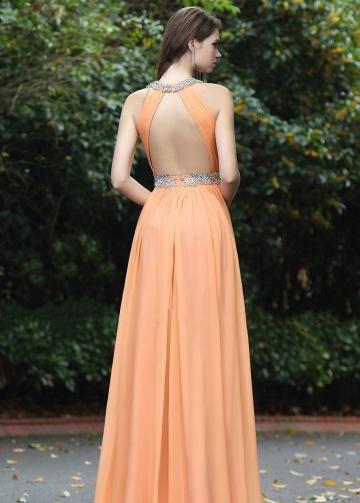 Orange Chiffon Floor Length Rhinestones Prom Dresses with Hollow Back