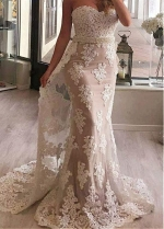 Glamorous Tulle & Satin Sweetheart Neckline Mermaid Evening Dress With Beaded Lace Appliques