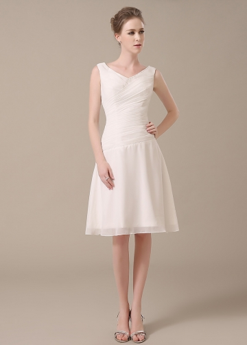 Sweet Chiffon V-neck Neckline Knee-length A-line Bridesmaid Dresses