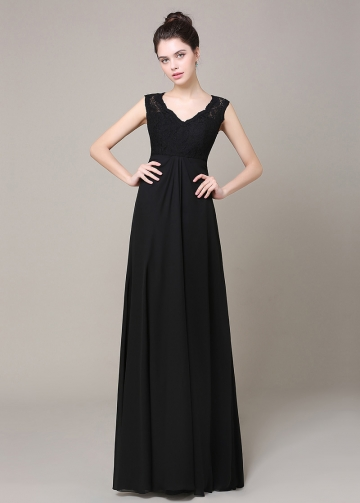 Elegant Chiffon & Lace V-neck Neckline A-line Bridesmaid Dress