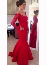 Gorgeous Satin Red Mermaid Evening Dresses With Lace Appliques