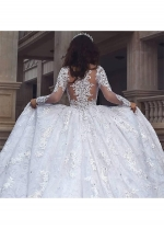 Gorgeous Tulle Jewel Neckline Ball Gown Wedding Dresses With Lace Appliques & Beadings