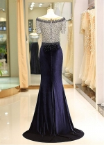 Fashionable Fleece & Lace Scoop Neckline Floor-length Mermaid Evening Dress