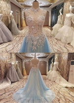 Fabulous Tulle High Collar Floor-length A-line Evening Dress With Beaded Lace Appliques