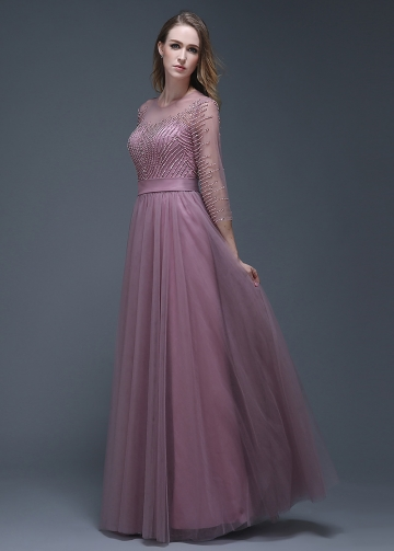 Elegant Tulle Jewel Neckline Full-length A-line Evening Dresses