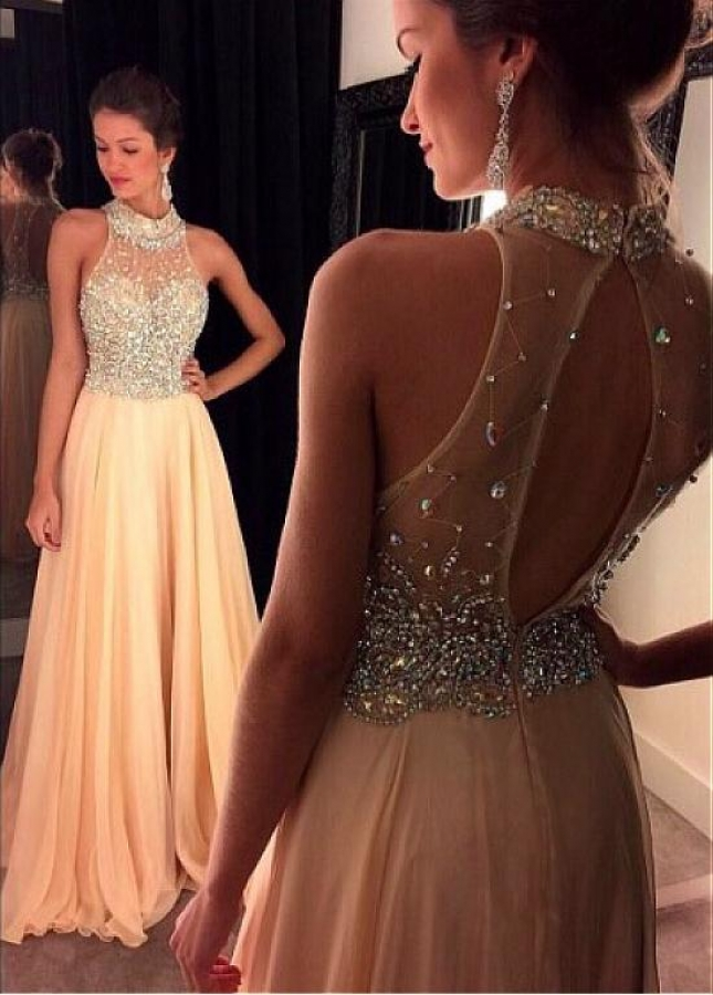 Alluring Chiffon High Collar Neckline A-Line Evening Dresses With Beadings