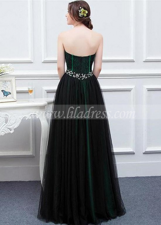 Beautiful Tulle Sweetheart Neckline A-line Evening Dresses With Beadings