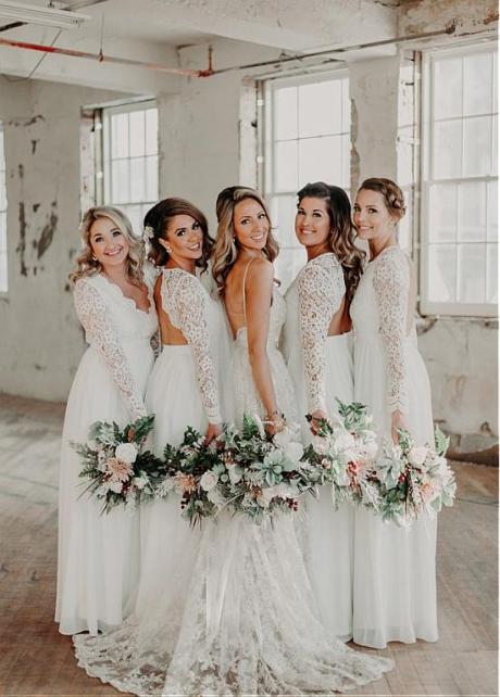 Delicate Chiffon & Lace V-neck Neckline Open Back White Bridesmaid Dresses