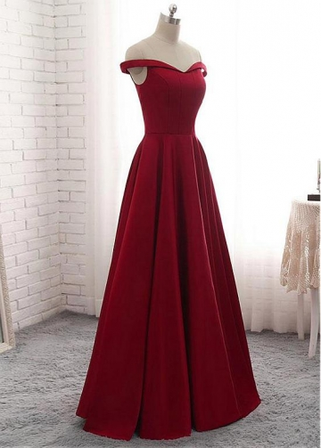 Graceful Satin Off-the-shoulder Neckline Floor-length A-line Red Bridesmaide Dress