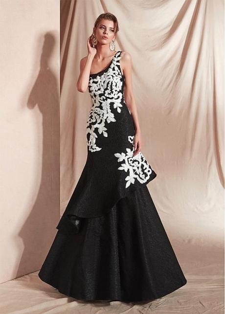 Marvelous Black One Shoulder Neckline Mermaid Prom Dresses With Appliques