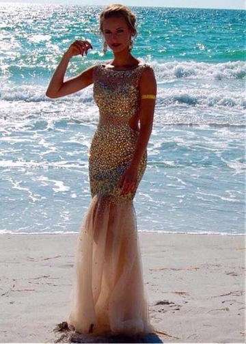 Stunning Tulle Bateau Neckline Floor-length Mermaid Evening Dresses With Beadings