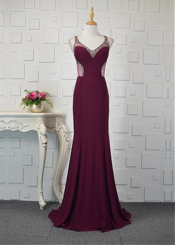 Romantic Tulle & Spandex V-neck Neckline Mermaid Prom Dresses With Beadings