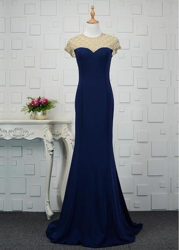 Romantic Tulle & Spandex Jewel Neckline Mermaid Prom Dresses With Beadings