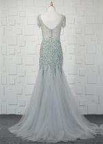 Shining Tulle Bateau Neckline Mermaid Formal Dresses With Beadings