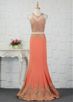 Newest Tulle & Chiffon Jewel Neckline Mermaid Evening Dresses With Beadings