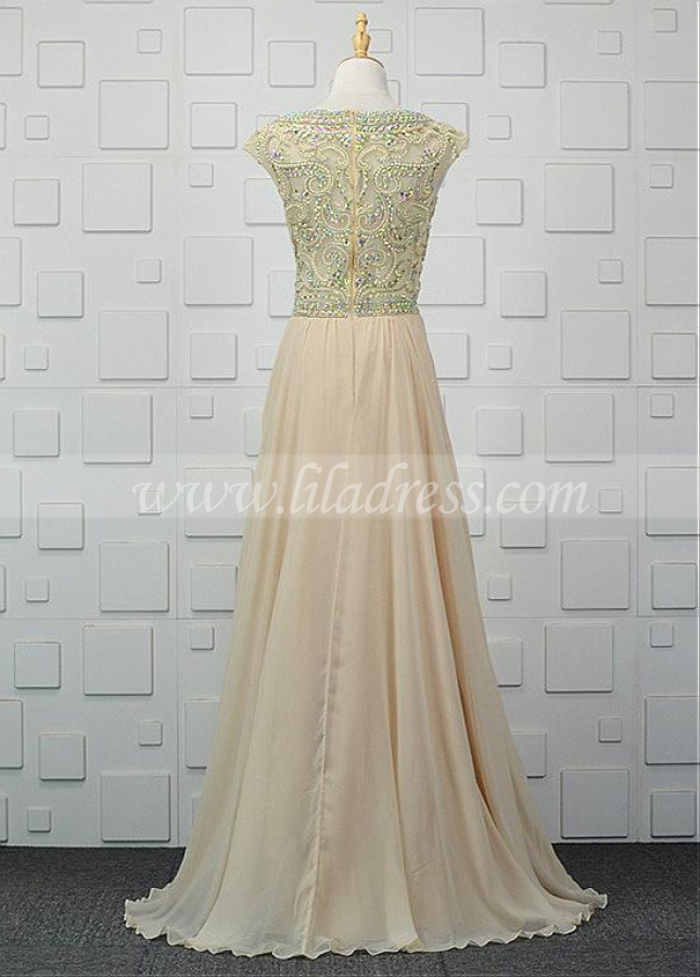 Newest Tulle & Chiffon Bateau Neckline A-line Evening Dresses With Beadings
