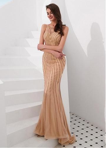 Distinctive Tulle & Spandex Jewel Neckline Floor-length Mermaid Evening Dresses With Rhinestones