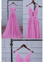 Delicate Pink A-line V-neck Tulle Bridesmaid / Sweet 16 Dress