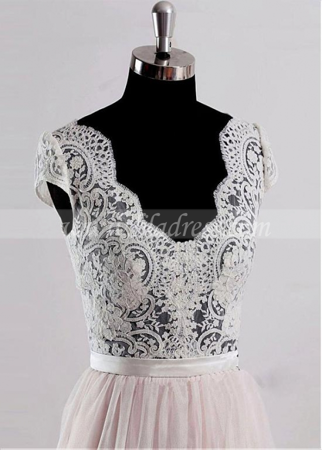 Elegant Tulle V-neck Neckline Floor-length A-line Prom / Destination Wedding Dresses