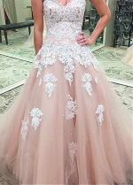 Wonderful Tulle Sweetheart Neckline Floor-length A-line Prom Dresses With Beaded Lace Appliques