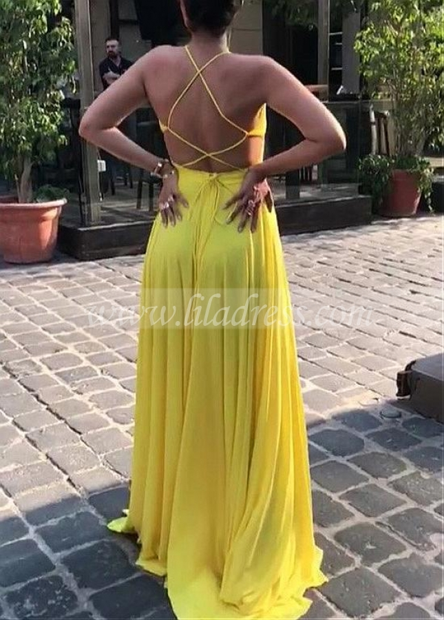 Yellow Chiffon Halter Neckline Floor-length A-line Evening Dresses