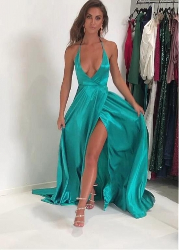 Classic Stretch Charmeuse Satin Halter Neckline Floor-length A-line Evening Dresses With Slit