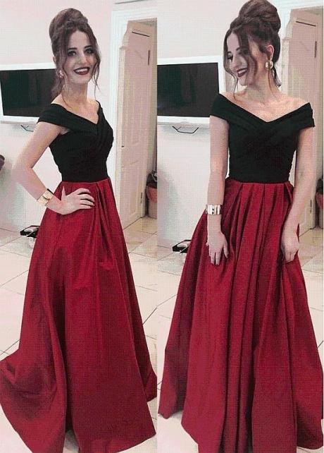 Elegant Satin Off-the-shoulder Neckline Floor-length A-line Prom Dresses