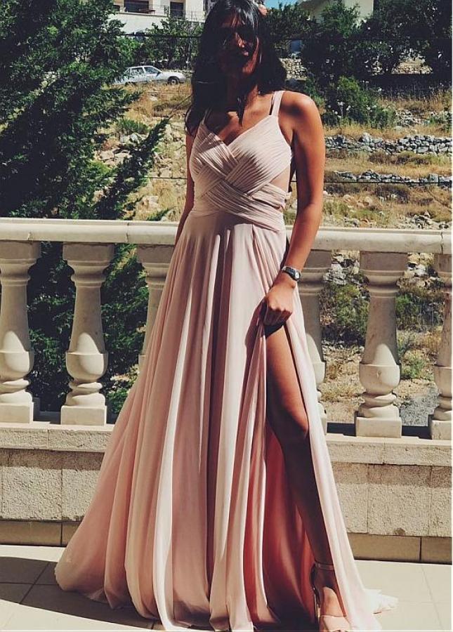 Modern Chiffon V-neck Neckline Floor-length A-line Evening Dresses With Slit