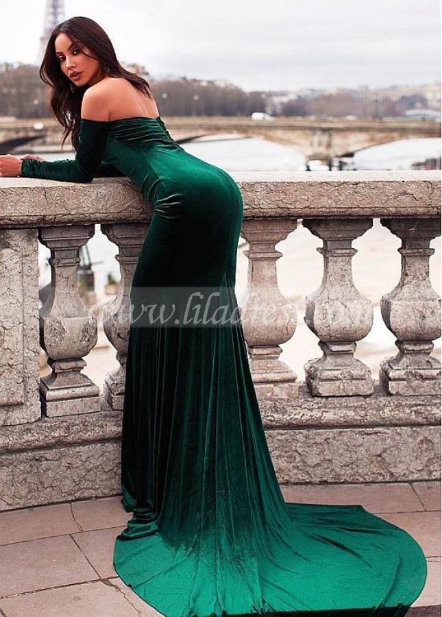 Elegant Fleece Off-the-shoulder Neckline Floor-length Mermaid Evening Dress