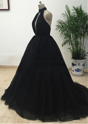 Brilliant Tulle Halter Neckline Floor-length Ball Gown Evening Dress