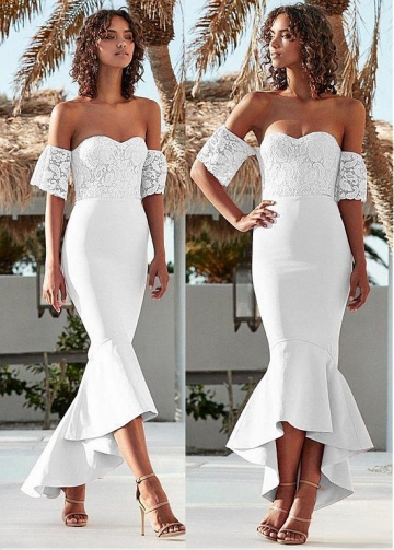 Alluring Off-the-shoulder Neckline Hi-lo Mermaid Evening Dress