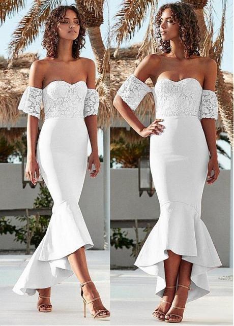 Alluring Off-the-shoulder Neckline Hi-lo Mermaid Evening Dress