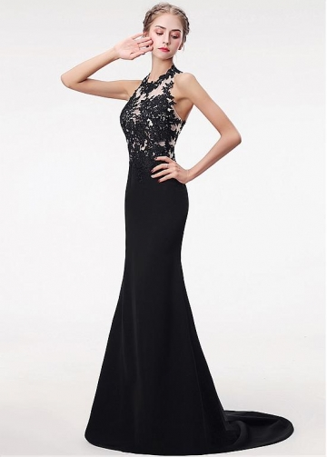 Fabulous Black Spandex Halter Neckline Floor-length Mermaid Evening Dress With Lace Appliques