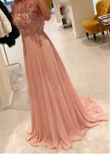 Brilliant Tulle & Chiffon Jewel Neckline Floor-length A-line Evening Dress With Beaded Lace Apliques